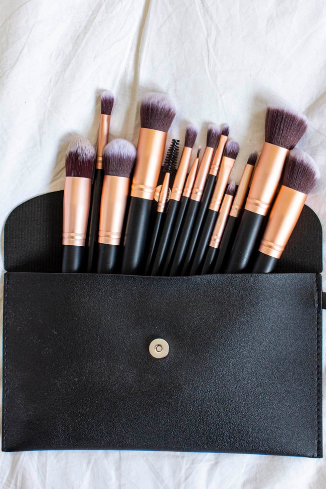 Give It Time 14pc Makeup Brush Black Set