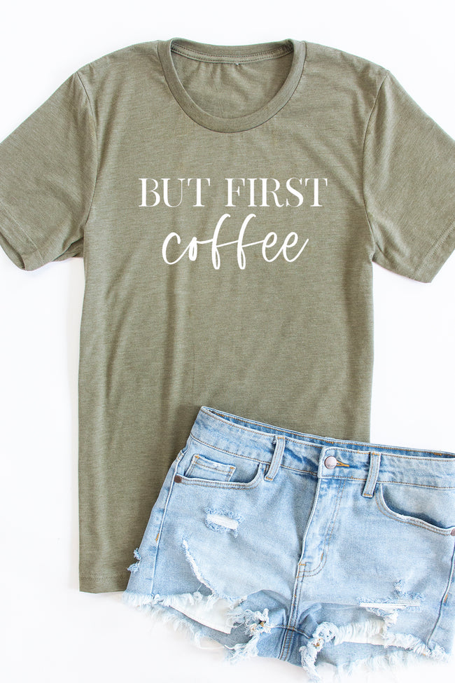 But First Coffee White Script Graphic Tee