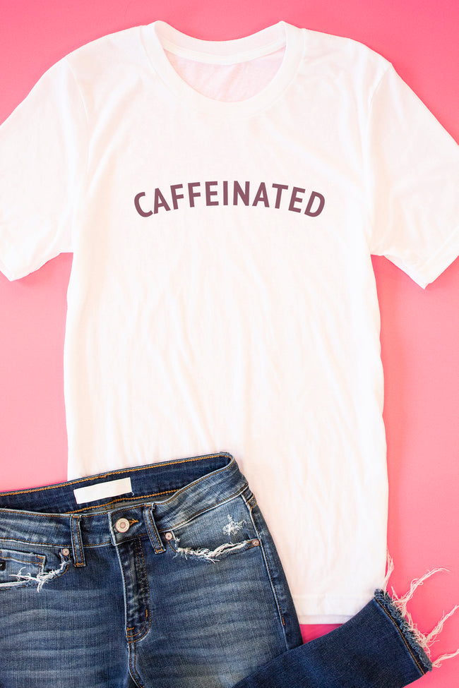 Caffeinated White Graphic Tee