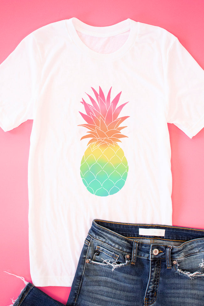 Ombre Pineapple White Graphic Tee