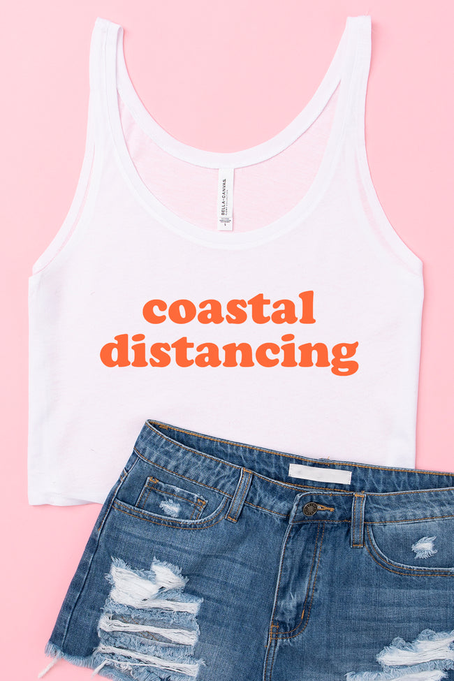 Coastal Distancing Cropped Graphic Tank White