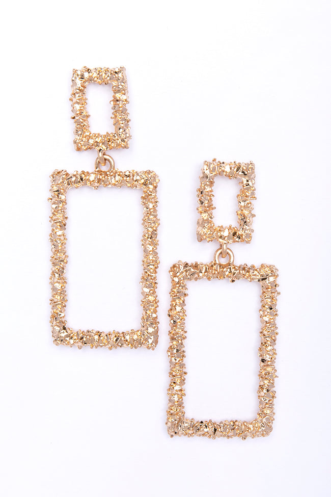 Complicated Love Rectangle Earrings Gold