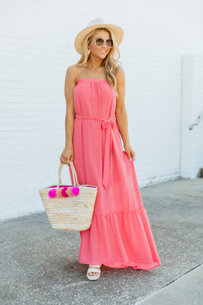Escape To My Happy Place Coral Maxi Dress