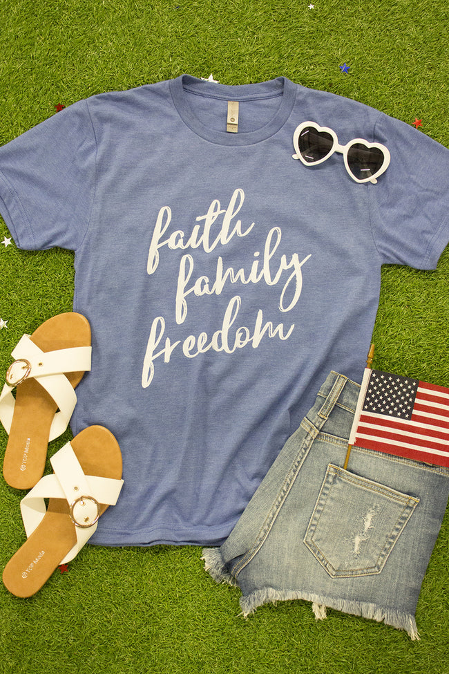 Faith Family And Freedom Blue Graphic Tee