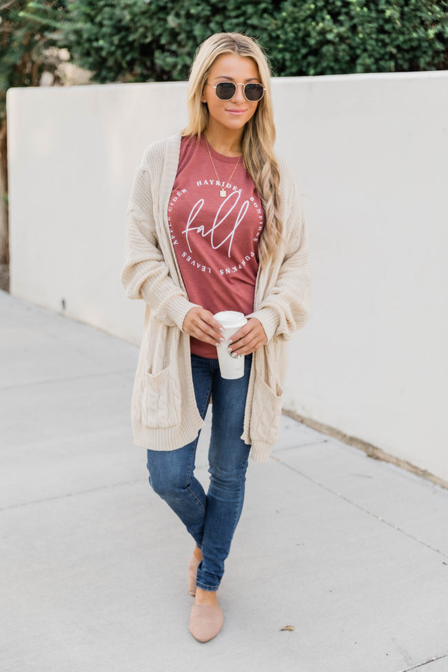 Fall Script Graphic Heather Clay Tee Shirt