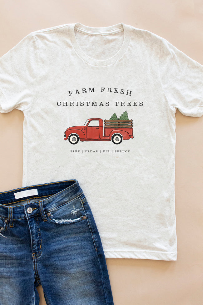Farm Fresh Christmas Trees Oatmeal Graphic Tee