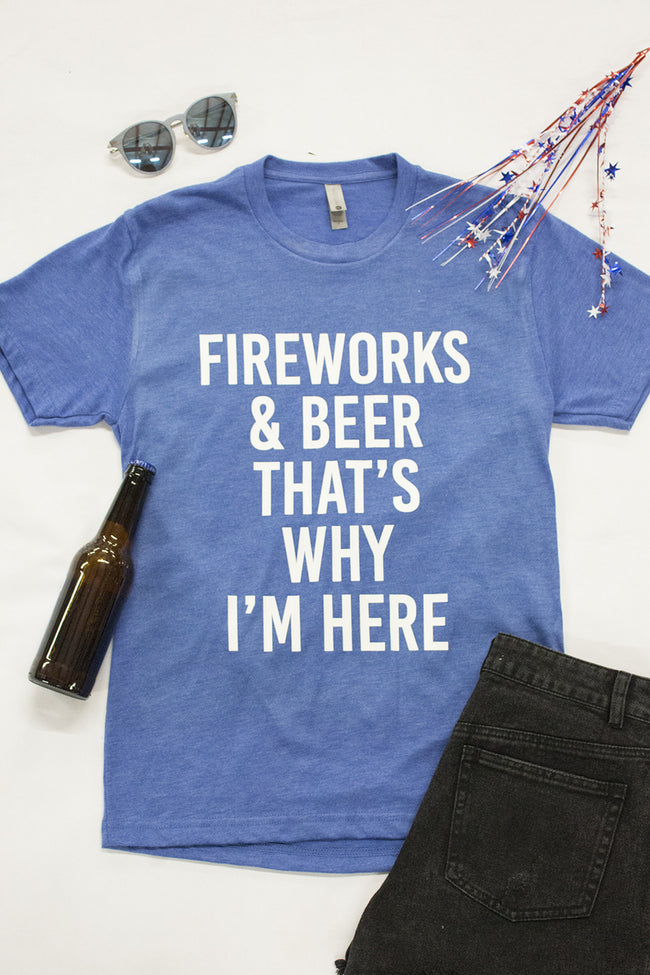 Fireworks And Beer Blue Graphic Tee