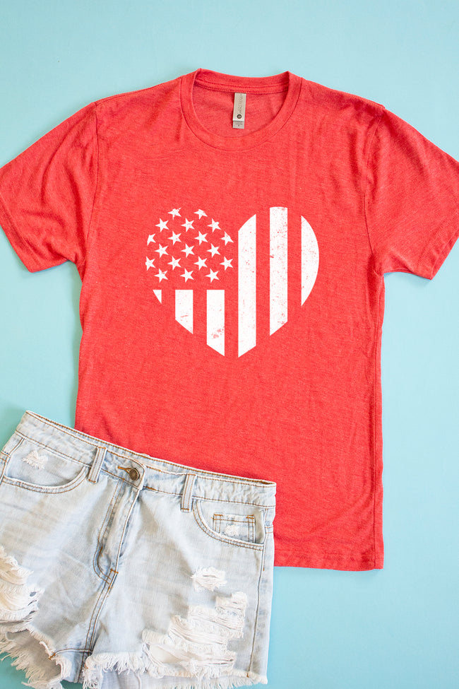 Distressed Vertical Flag Heart Red Graphic Tee