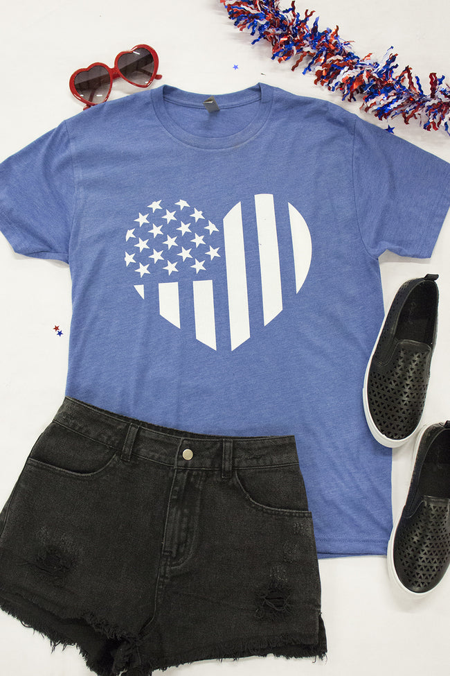 Distressed Vertical Flag Heart Blue Graphic Tee