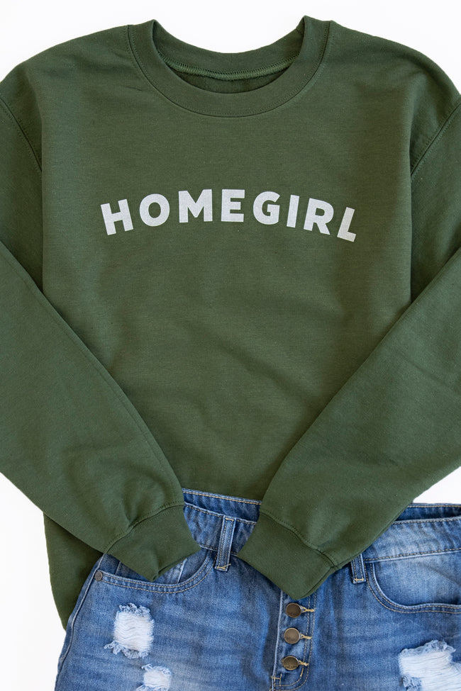 Homegirl Block Graphic Sweatshirt Olive