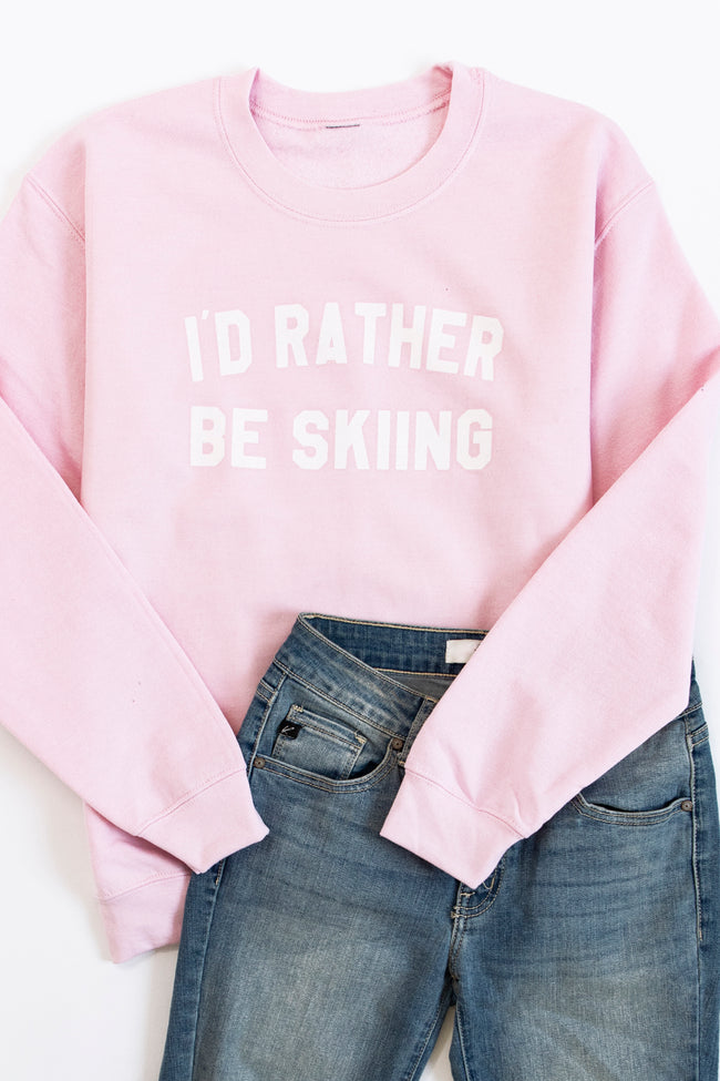 I'd Rather Be Skiing Light Pink Graphic Sweatshirt