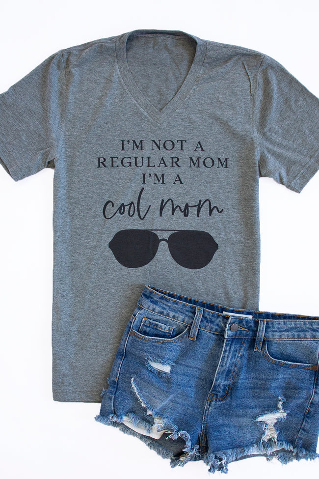 Not A Regular Mom Grey V-Neck Graphic Tee