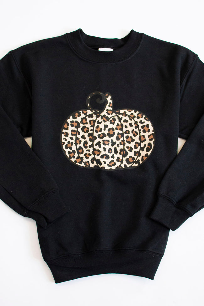 Kids Animal Print Pumpkin Graphic Black Sweatshirt