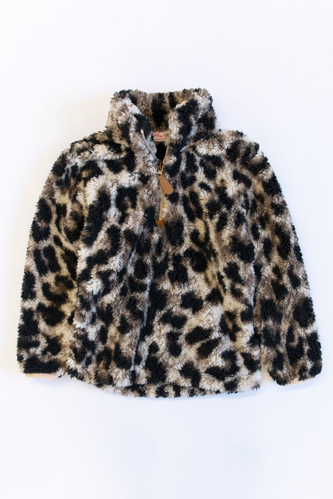 On The Prowl Kids Animal Print Brown Sherpa Pullover