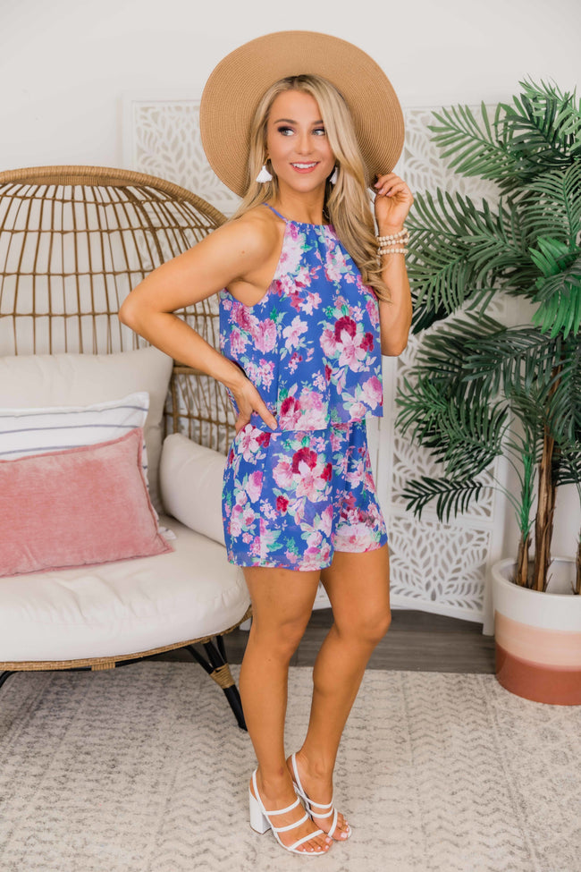Let's Go See The World Floral Halter Romper Blue CLEARANCE