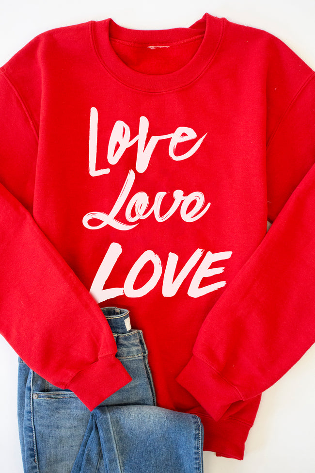 Love Love Love Red Graphic Sweatshirt