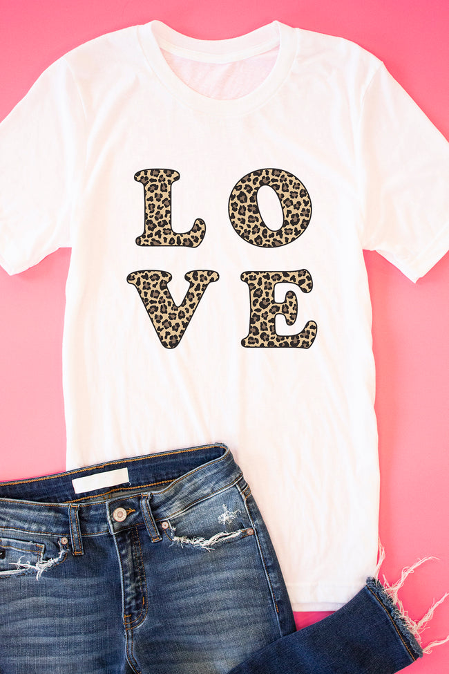 Animal Print Love Square White Graphic Tee