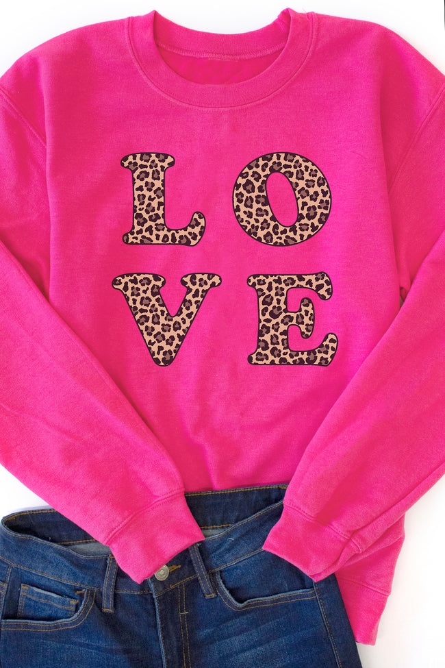 Animal Print Love Square Hot Pink Graphic Sweatshirt