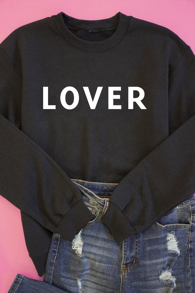 LOVER Block Black Graphic Sweatshirt
