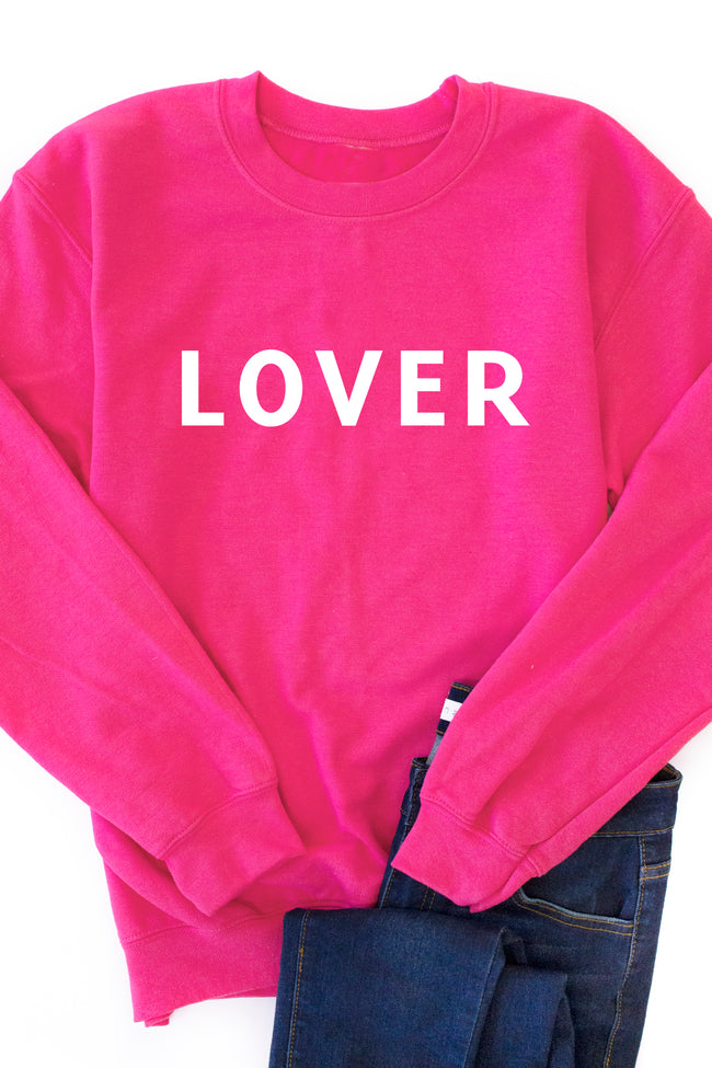 LOVER Block Hot Pink Graphic Sweatshirt