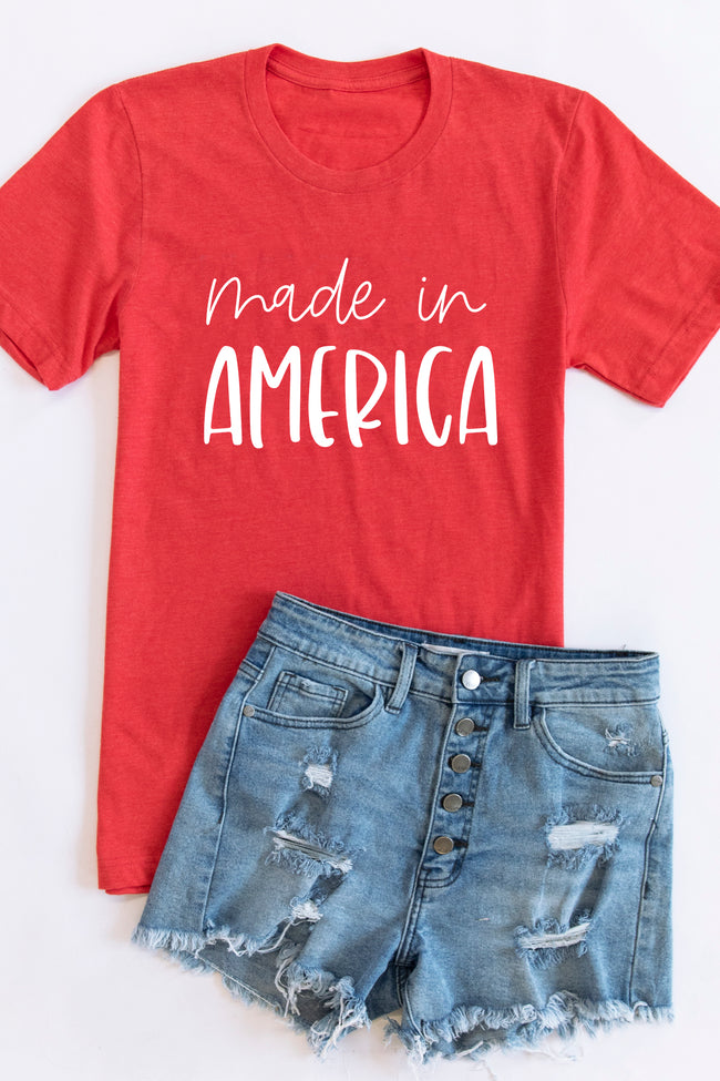 Made In America Scripted Graphic Tee Vintage Red