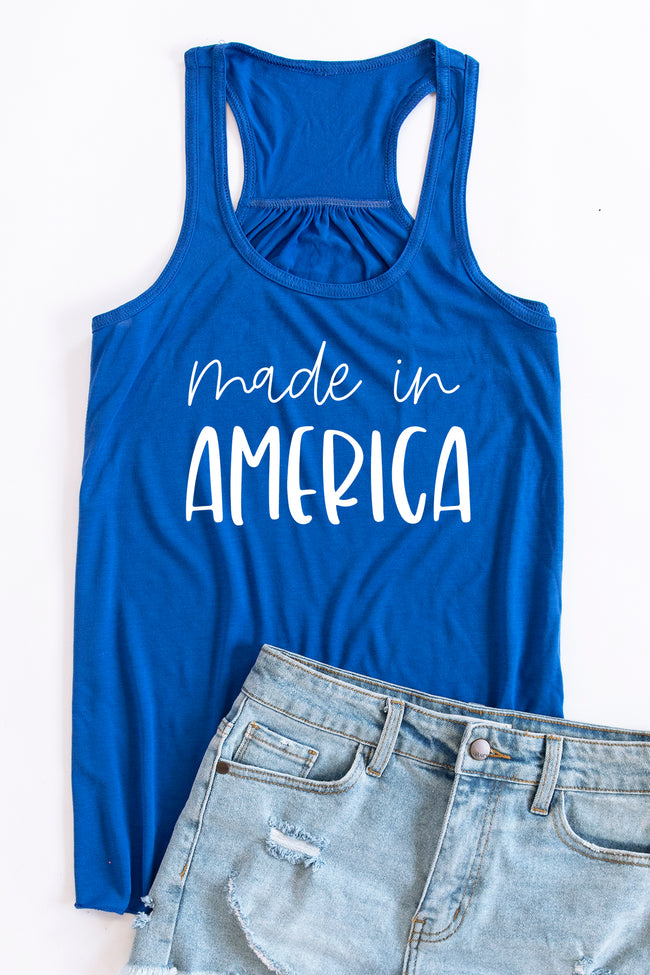 Made In America Scripted Graphic Tank Royal Blue
