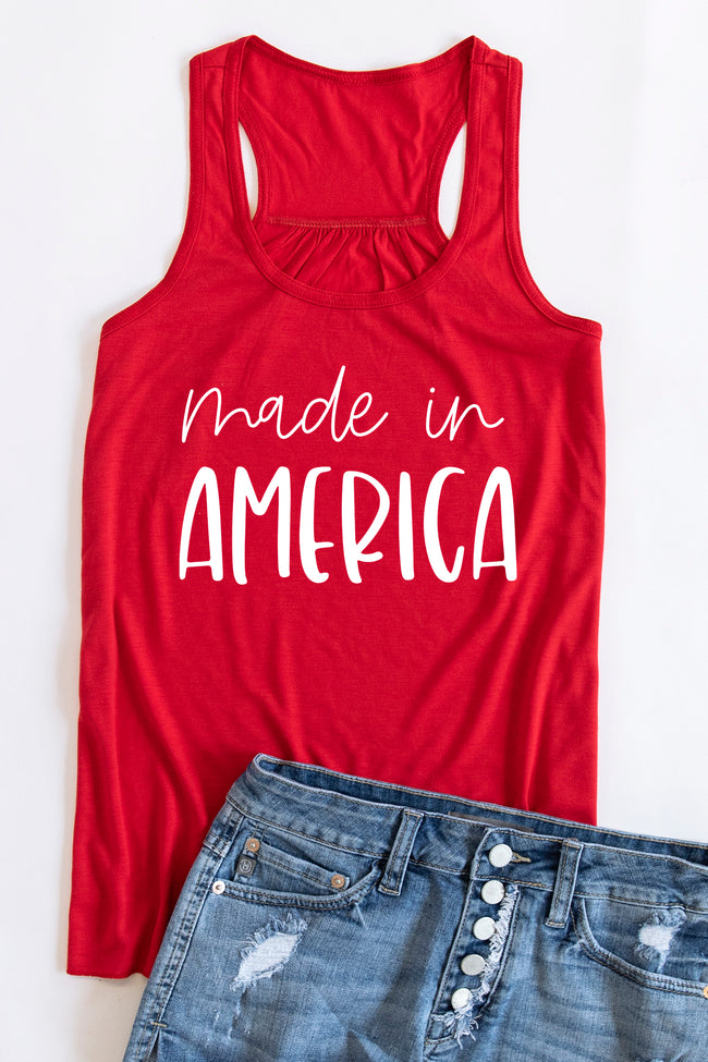 Made In America Scripted Graphic Tank Red