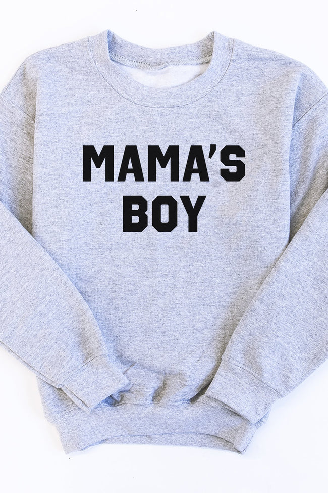 Mama's Boy Grey Kids Graphic Sweatshirt