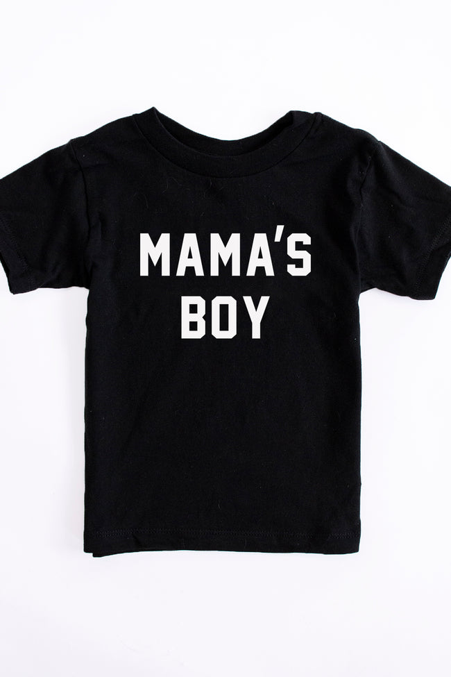Mama's Boy Toddler Black Graphic Tee