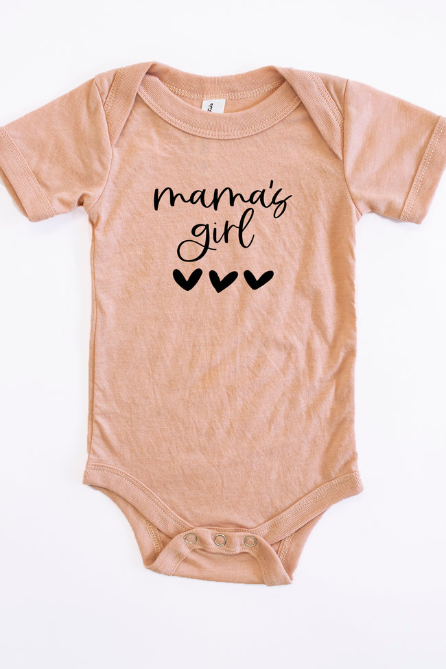 Mama's Girl Script With Heart Onesie Peach