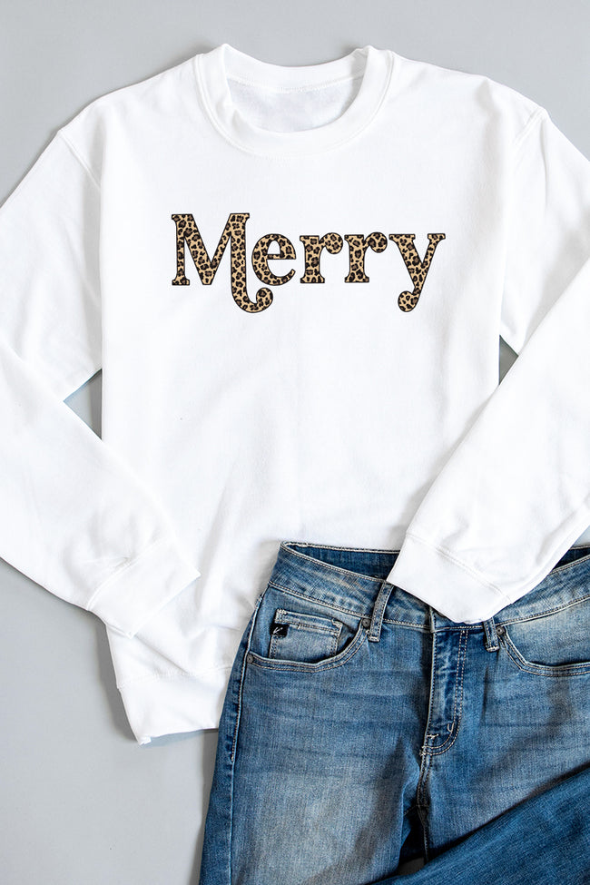Merry Animal Print Graphic White Sweatshirt