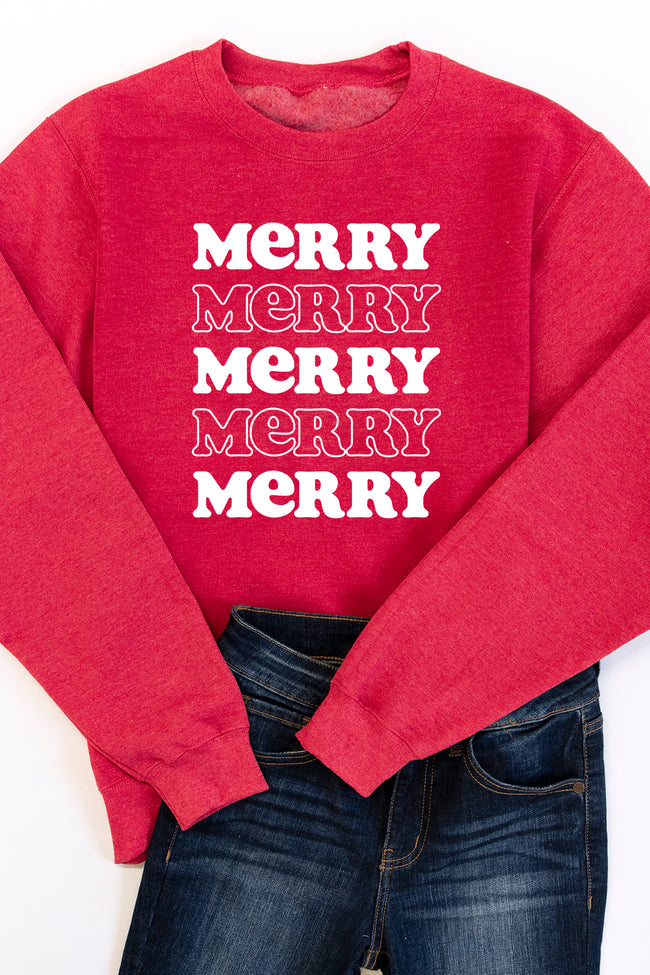 Merry Multi Graphic Heather Red Sweatshirt