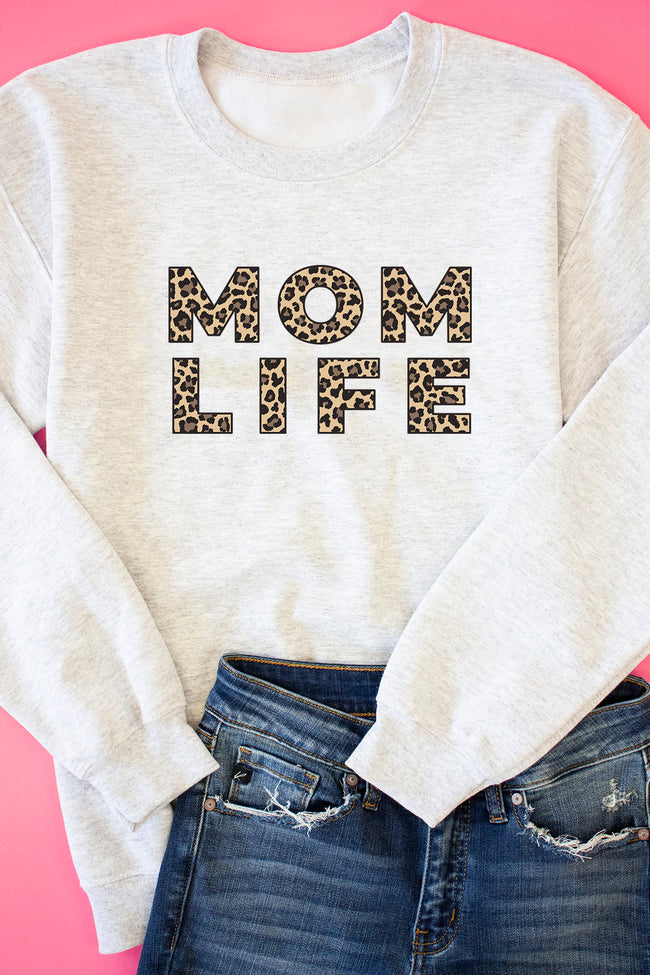 Mom Life Leopard Print Ash Graphic Sweatshirt