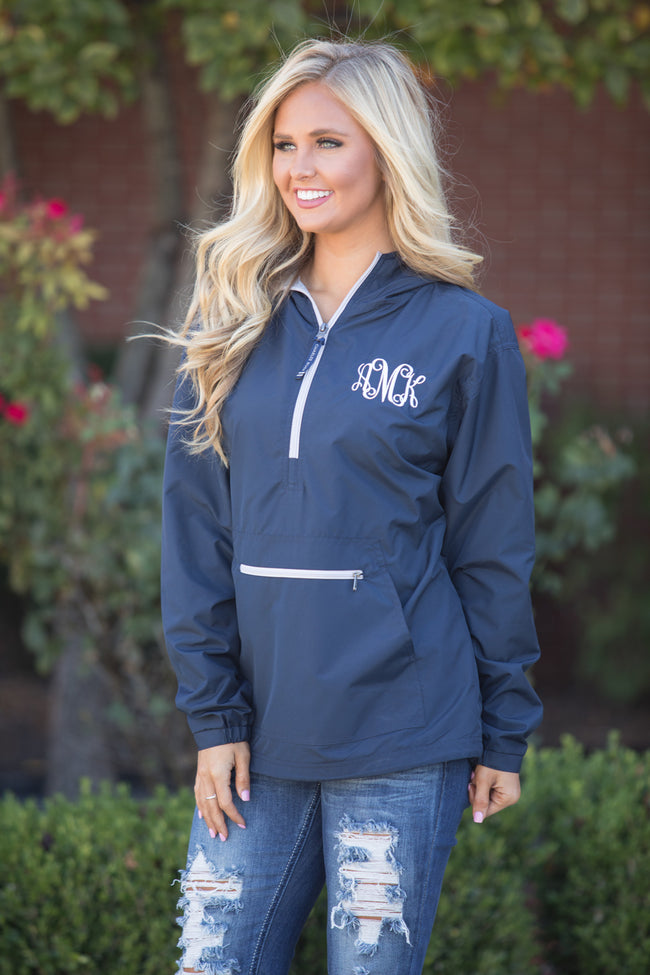 Personalized Navy Pullover Rain Jacket