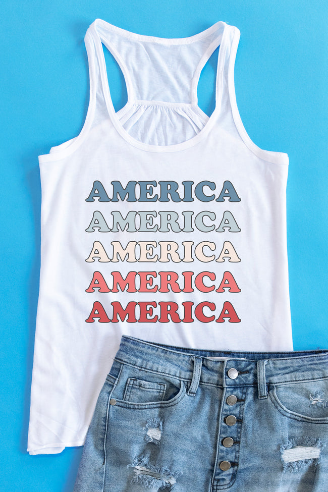 Multicolor America Graphic Tank White