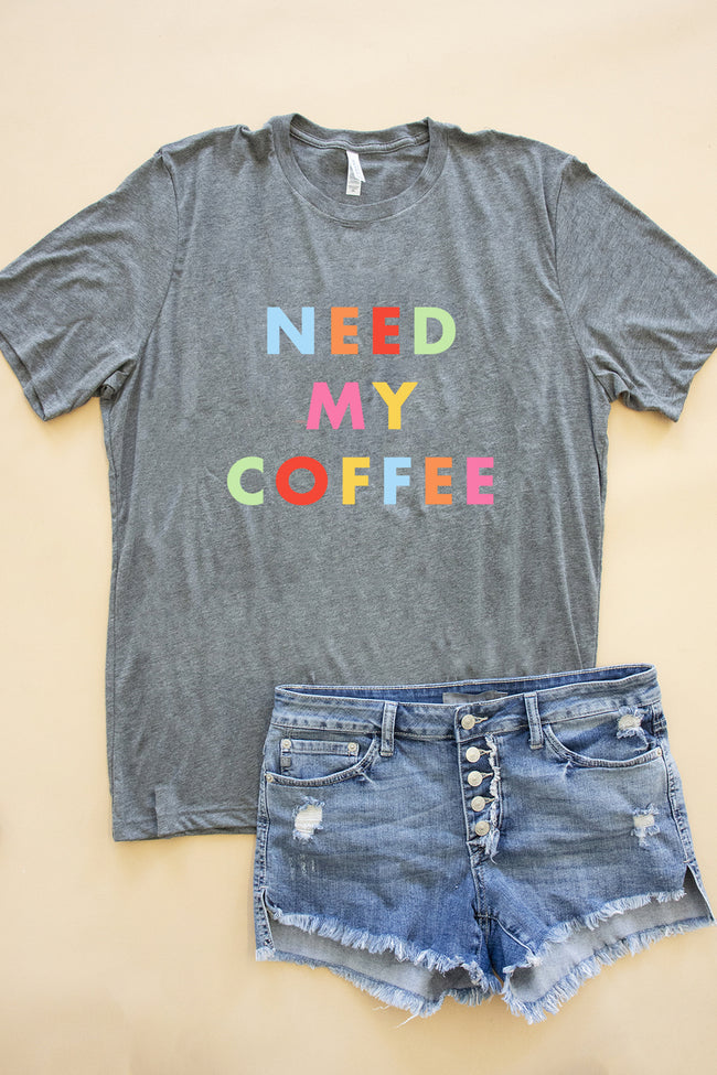 Need My Coffee Grey Graphic Tee