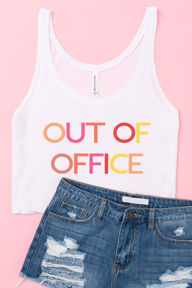 Out Of Office Multi Cropped Graphic Tank White