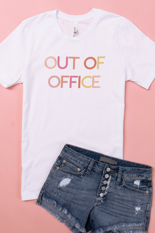 Out Of Office Multicolor White Graphic Tee