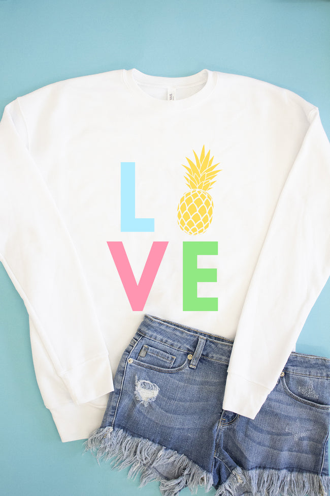 Rainbow Pineapple Love Graphic Sweatshirt