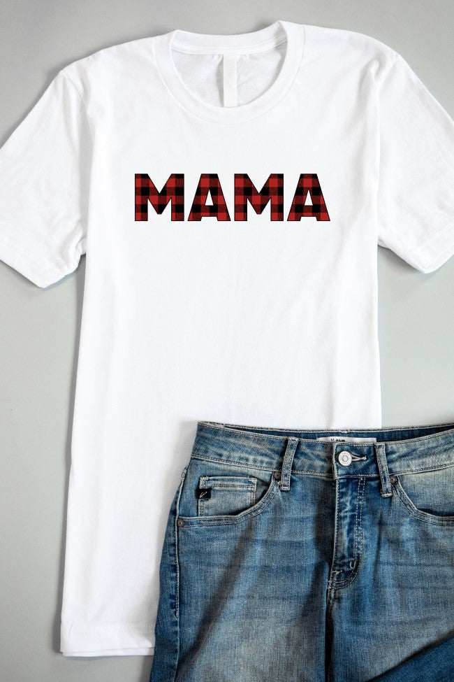 Plaid Mama Graphic White Tee