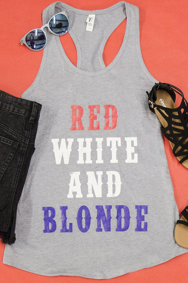 Red White And Blonde Graphic Tank