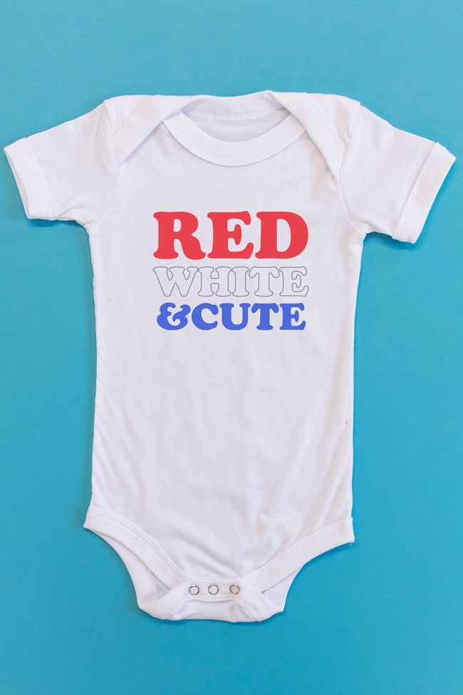 Red, White, And Cute Graphic Onesie White