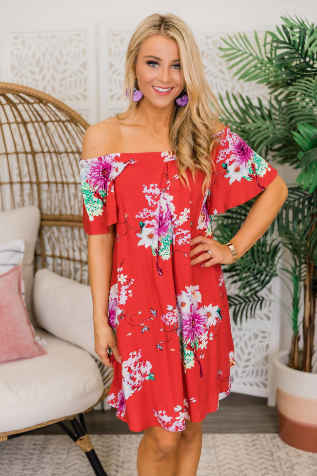 Say It A Little Louder Floral Dress Red