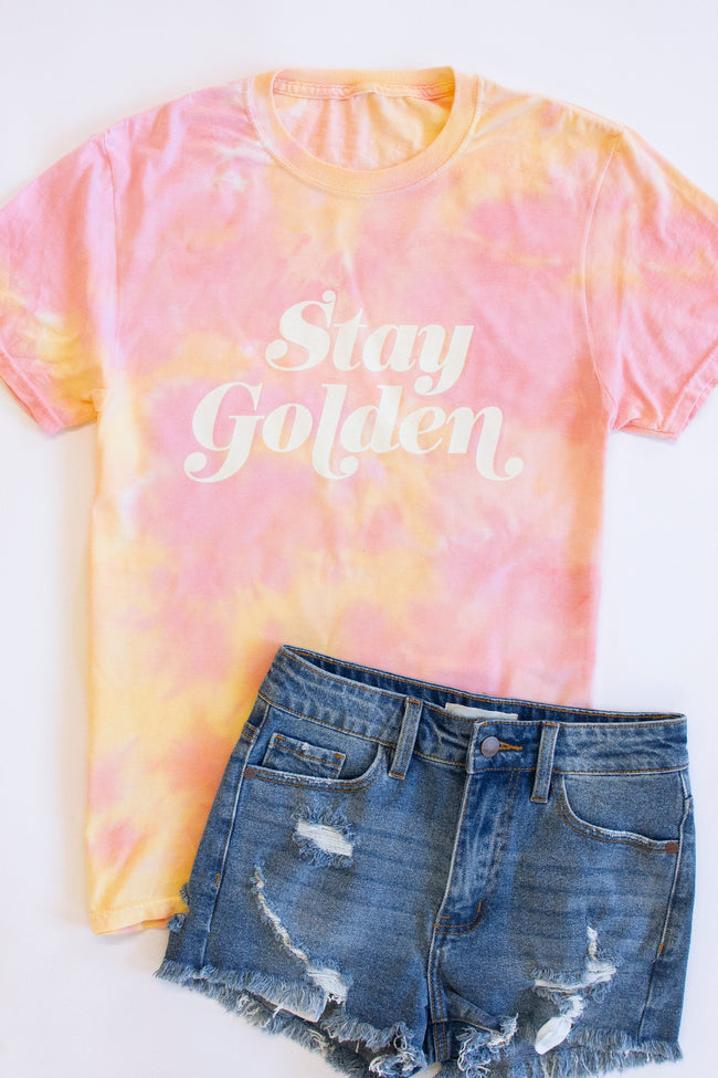 Stay Golden Tie Dye Sunset Graphic Tee