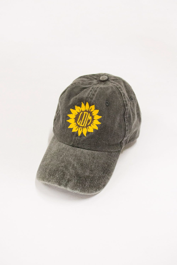 Sunflower Monogram Embroidered Baseball Cap