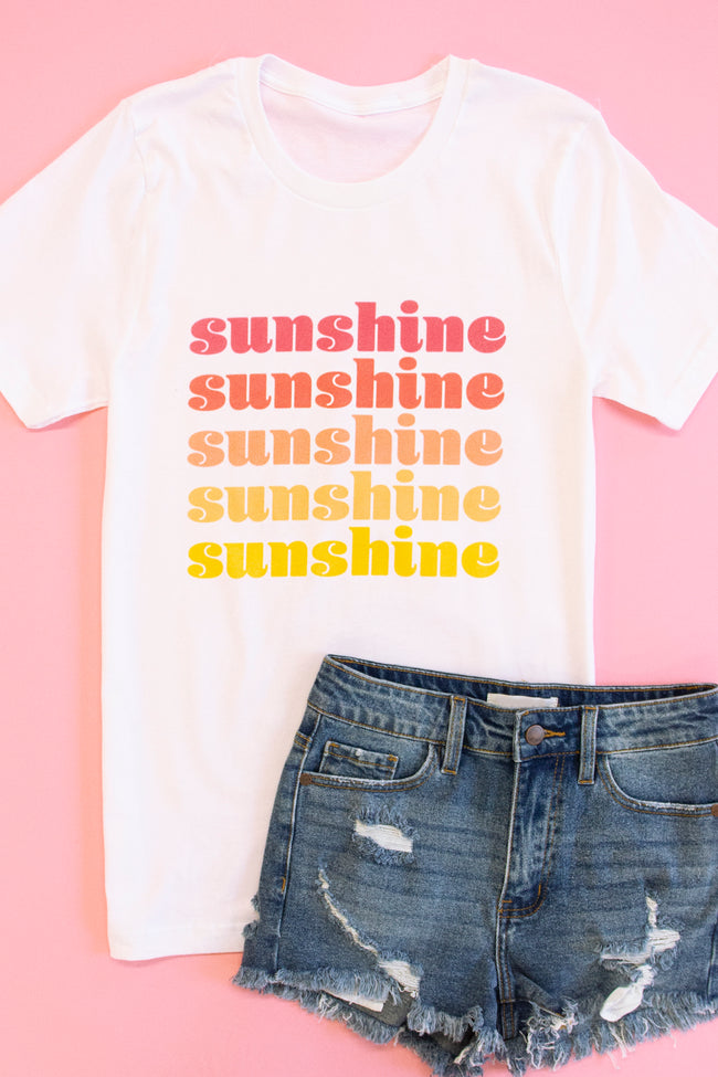 Ombre Sunshine White Graphic Tee
