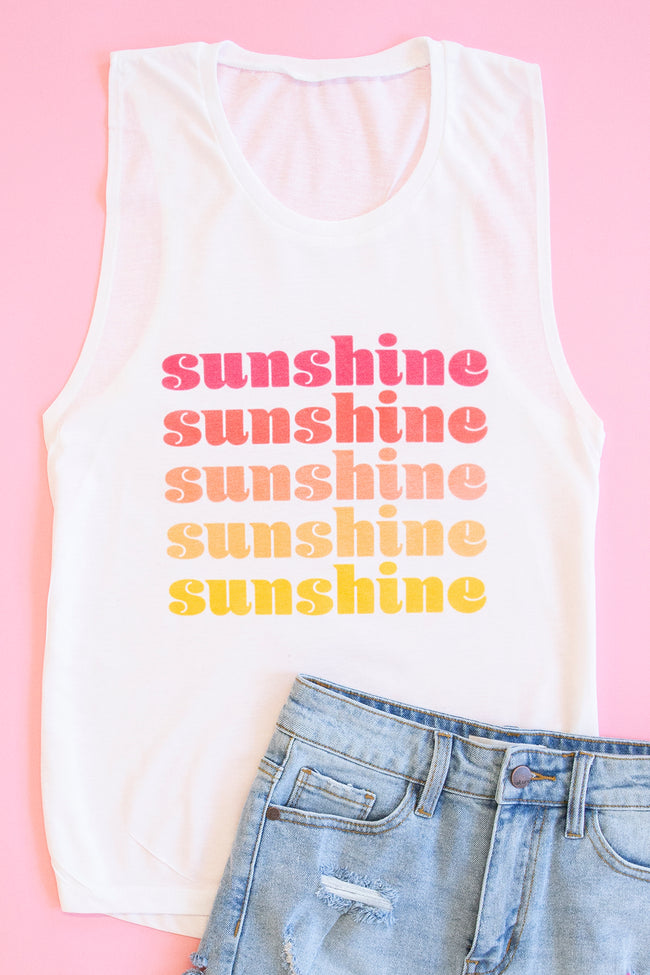Ombre Sunshine White Graphic Tank