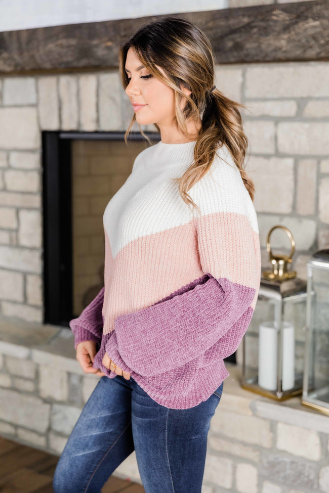 Tell You My Story Berry Colorblock Sweater