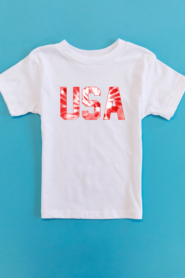 Tie Dye USA Red Graphic Toddler Tee White