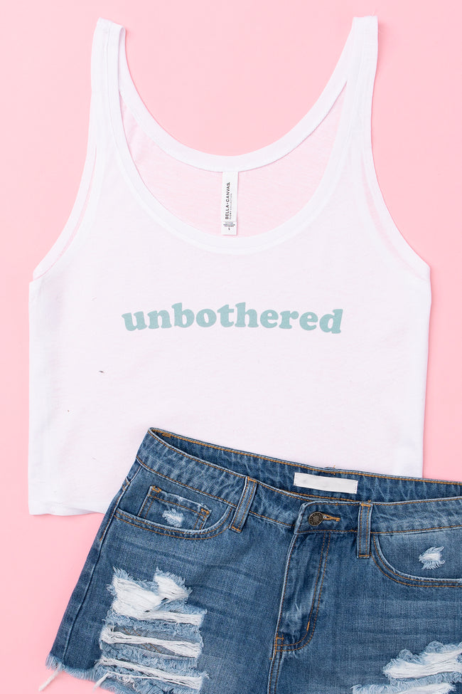 Unbothered Cropped Graphic Tank White